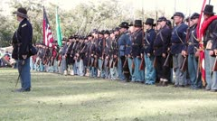 Union Soldiers in Formation Moving Rifles Stock Footage