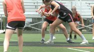Stock Video Footage of Girls Lacrosse team practicing (2 of 3)