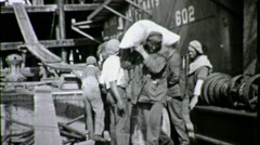 Black Dock Workers Longshoremen UNLOAD CARGO 1930s Vintage Film Home Movie 1650 Stock Footage