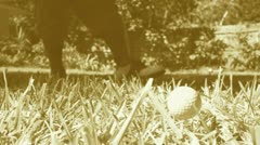 Vintage Sepia Golf Swing in Slow Motion Stock Footage