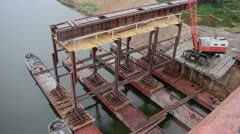 Dock. Resource extraction from the river Dnieper Stock Footage