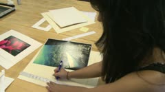 Junior high students making frames for pictures (1 of 4) - stock footage