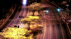 Sao Paulo night traffic in Sumare avenue. Stock Footage