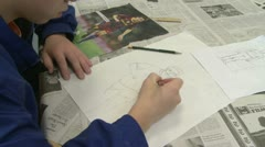 Junior high student writing in class (1 of 6) - stock footage