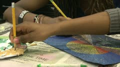 Junior high students working in art class (4 of 9) Stock Footage
