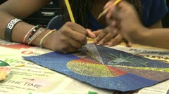 Junior high students working in art class (1 of 9) - stock footage