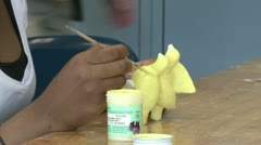 Student painting in art class (6 of 6) - stock footage