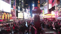 Times Square Crowd Blurred Crowd High Angle Stock Footage