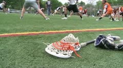 Lacrosse equipment laying on the field (2 of 2) Stock Footage