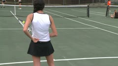 High school girls at tennis practice (6 of 6) - stock footage