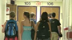 Junior high students walking down hallway  (5 of 8) - stock footage