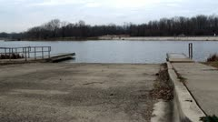 Boat launch ramp on the small lake Stock Footage