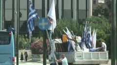 Civil workers hanging flags in Syntagma Square in Athens, Greece Stock Footage
