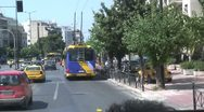 Stock Video Footage of City street traffic & pedestrians in modern Athens, Greece