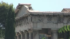 Theseum (Temple of Hephaestus) in the ancient agora in Athens, Greece Stock Footage