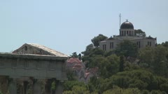 Theseum (Temple of Hephaestus), Byzantine church, planetarium (Athens, Greece) Stock Footage
