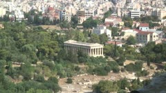 The Theseum (Temple of Hephaestus) seen from the Acropolis in Athens, Greece Stock Footage