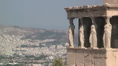 Porch of the Caryatids (Erectheum Temple) on the Acropolis in Athens, Greece - stock footage