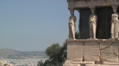 Porch of the Caryatids (Erectheum Temple) on the Acropolis in Athens, Greece Stock Footage