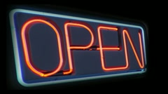 Open sign flashing 1 Stock Footage
