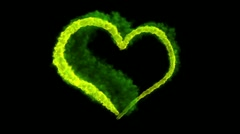 Green burning heart Stock Footage
