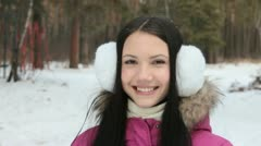Girl breathing out in wintry air Stock Footage