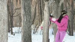 Playing in winter forest Stock Footage