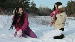 Playing in snow Stock Footage