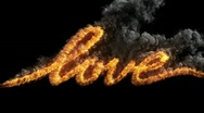 Stock Video Footage of Writing word LOVE with fire
