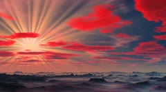 Sunset on a fantastic planet. Stock Footage