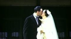 JUST MARRIED! Bride Groom KISS Wedding1940s Vintage Film 16mm Home Movie 1671 Stock Footage