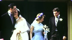 Bride, Groom, Maid of Honor and Best Man 1945 (Vintage Film Home Movie) 1672 Stock Footage