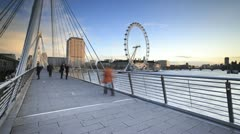 River Thames and Millennium Wheel, London, England - stock footage