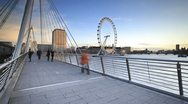 Stock Video Footage of River Thames and Millennium Wheel, London, England