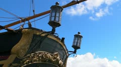 25p pirate ship stern - stock footage