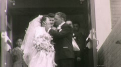 Bride and Groom Leave Church WEDDING  1940s Vintage Film 16mm Home Movie 1680 Stock Footage