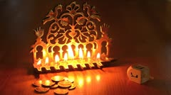 Hanukkah jewish  holiday 02 - stock footage
