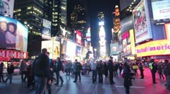 Times Square Crowd at Night Stock Footage