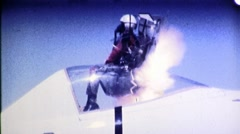 Jet Pilot Ejects Fighter Plane Cockpit Ejection Seat Vintage Film Movie 1683 - stock footage