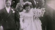 Stock Video Footage of JUST MARRIED! Bride Groom WEDDING Rice 1940 Vintage Film 16mm Home Movie 1681