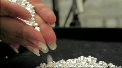 Silver pearls dropped Stock Footage