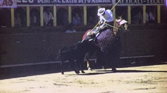 BULLFIGHT MATADOR BULL ARENA Picador Fight 1960s Vintage Film Home Movie 1691 Stock Footage