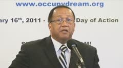 Bite 2 of 2 former NAACP CEO Ben Chavis, Black clergy support Occupy Wall Street Stock Footage