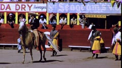 Men Walk into Arena Bullring Mexican Bullfight 60s Vintage Film Home Movie 1688 Stock Footage