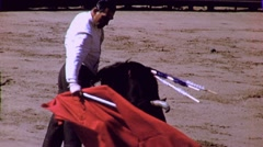BULLFIGHT Brave Man MATADOR BULL ARENA Fight 1970s Vintage Film Home Movie 1693 Stock Footage