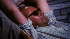 Relaxing Man Sunbathing Power Nap - Vintage Super 8mm Film Stock Footage