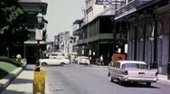 Stock Video Footage of STREET SCENE New Orleans French Quarter 1960s (Vintage Film Home Movie) 1695