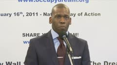 Bite 3 of 3 televangelist Jamal Bryant, Black clergy support Occupy Wall Street - stock footage