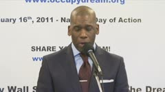 Bite 1 of 3 televangelist Jamal Bryant, Black clergy support Occupy Wall Street Stock Footage