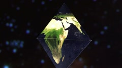 Earth in Dipyramid, blue stars Stock Footage